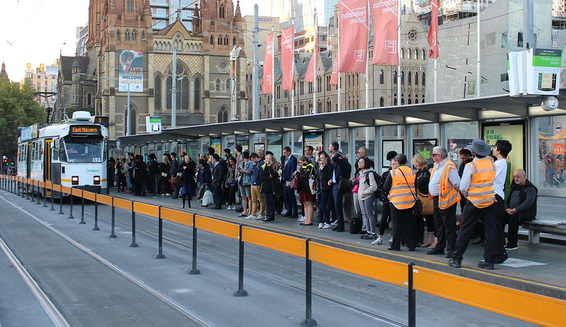 Federation Square tram stop, evening peak hour
