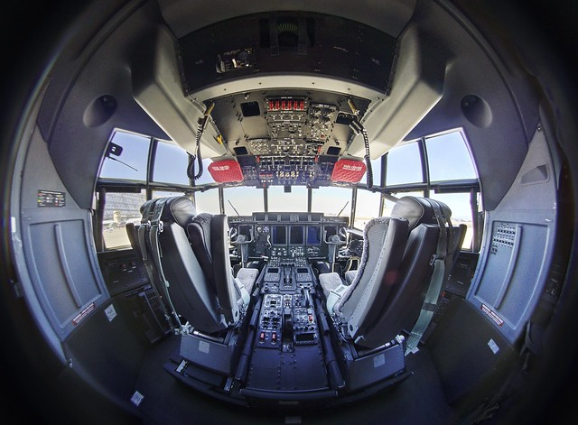 Inside the cockpit of a Lockheed C-130 Hercules