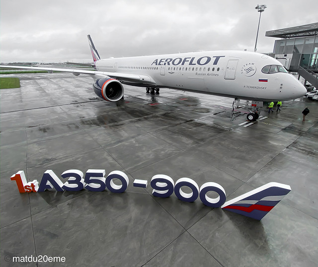 Ceremony delivery First Airbus a350 for Aeroflot