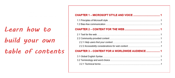 Build Your Own Table of Contents (Word 2013)