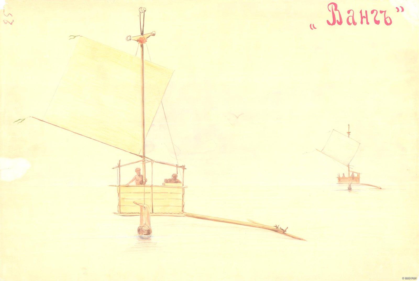 1880-е. Парусная лодка Ванг. Папуасы Новой Гвинеи.