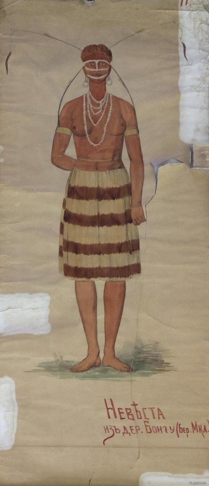 1880-е. Невеста из дер. Бонгу. (Бер. Маклая). Папуасы Новой Гвинеи.