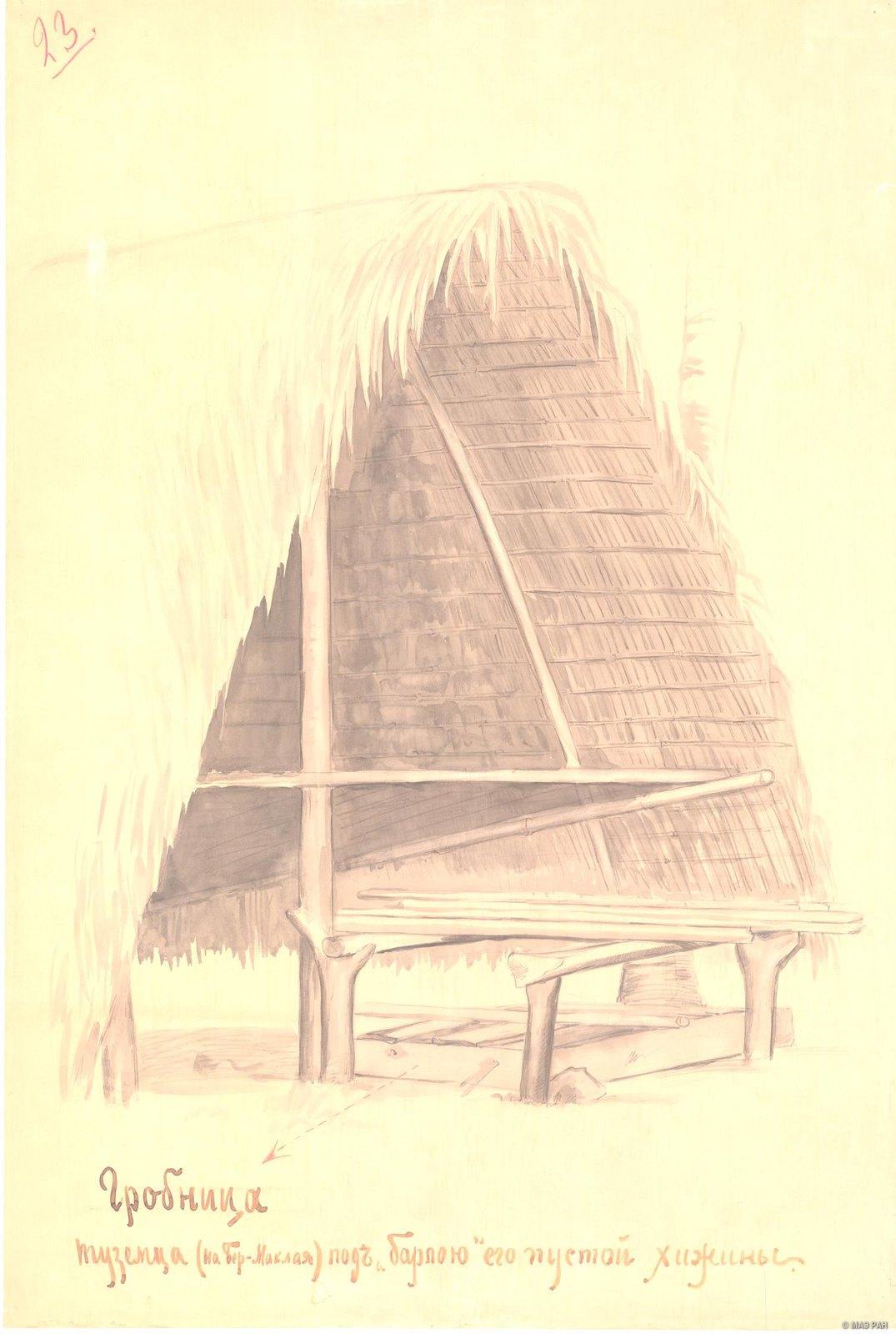 1880-е. Гробница туземца (на Бер. Маклая) под «барлою» его пустой хижины