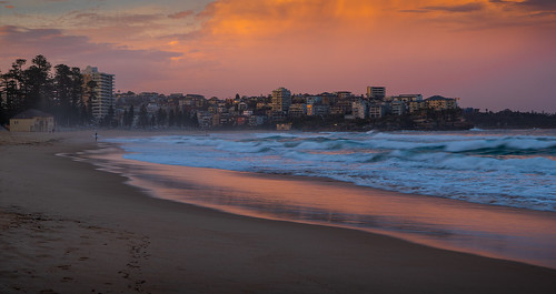 manly beach sunset sun sea shore surfing sydney sky water scenic australia sand