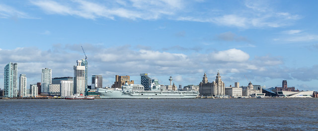 HMS Prince of Wales and Liverpool skyline