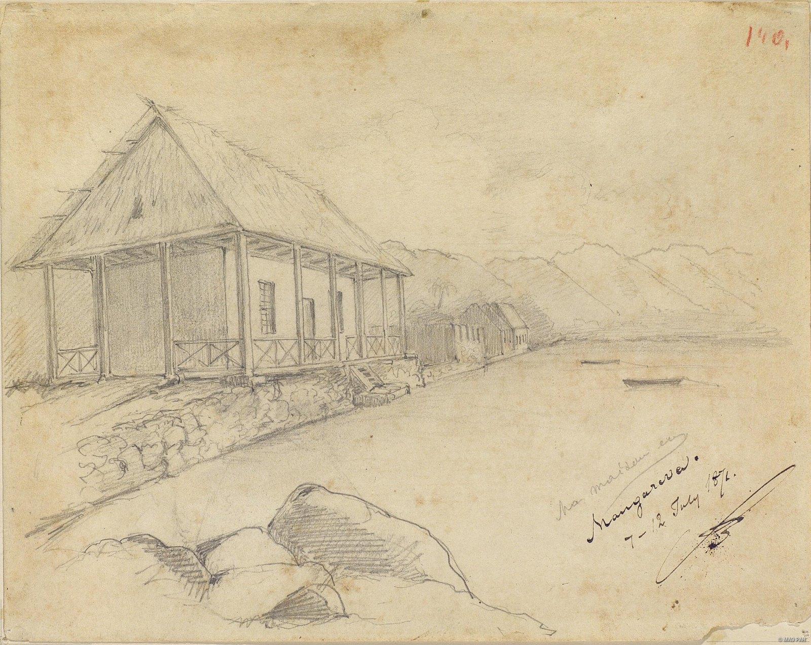 1872. Дом Н.Н. Миклухо-Маклая на острове Мангарева. 7-12 июля