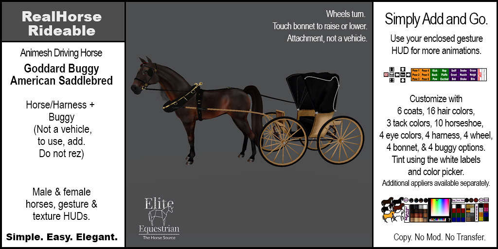 Elite Equestrian's Animesh RealHorseRideable Rideable – American Saddlebred with 1870's Goddard Buggy