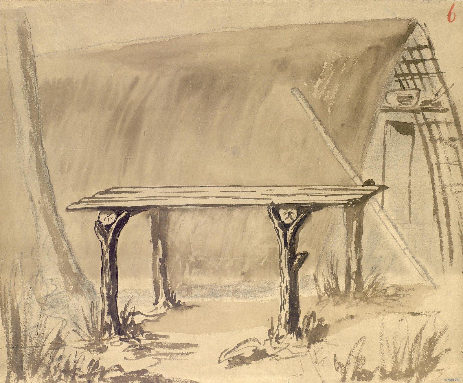 1880-е. Помост «барла», на котором папуасы едят и спят. Папуасы Новой Гвинеи