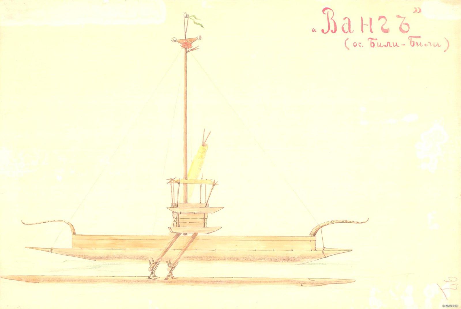 1880-е. Большая парусная лодка Ванг. (ос. Били-Били) Папуасы Новой Гвинеи