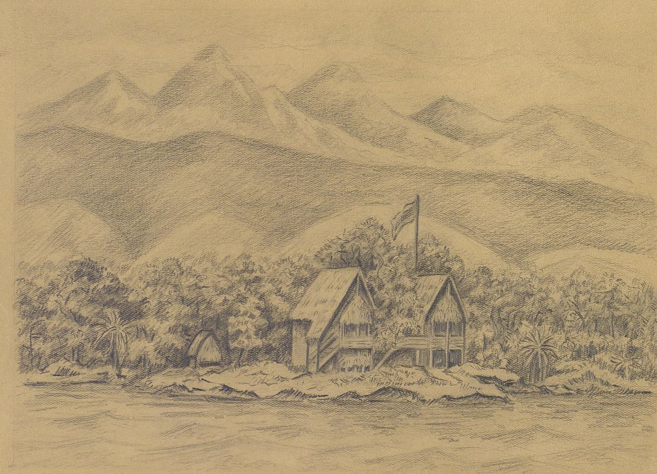 1876-1877. Дом Н.Н. Миклухо-Маклая на мысе Бугарлом