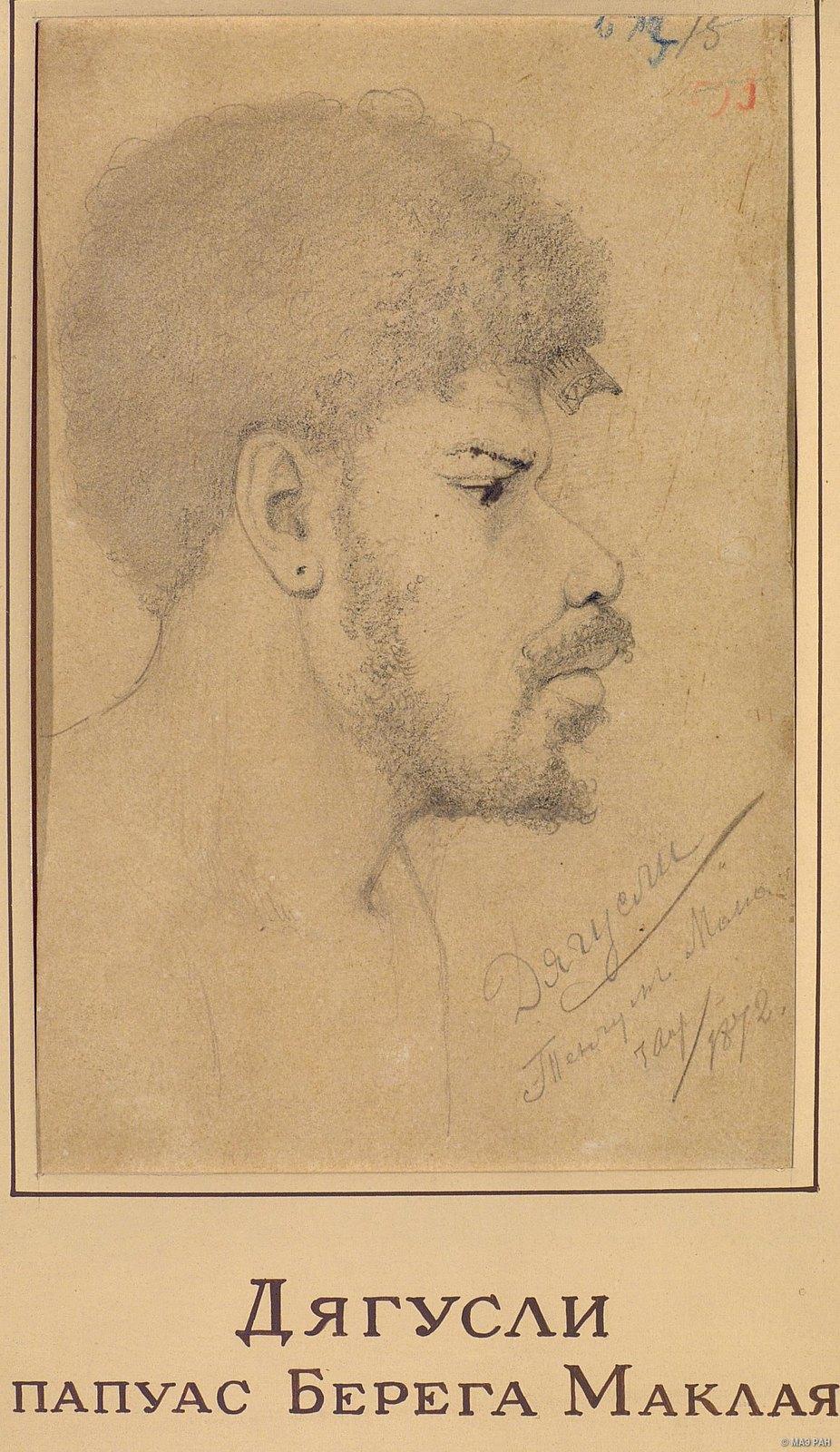 1872. Дягусли, папуас берега Маклая. Тенгум Мана. 7 апр.