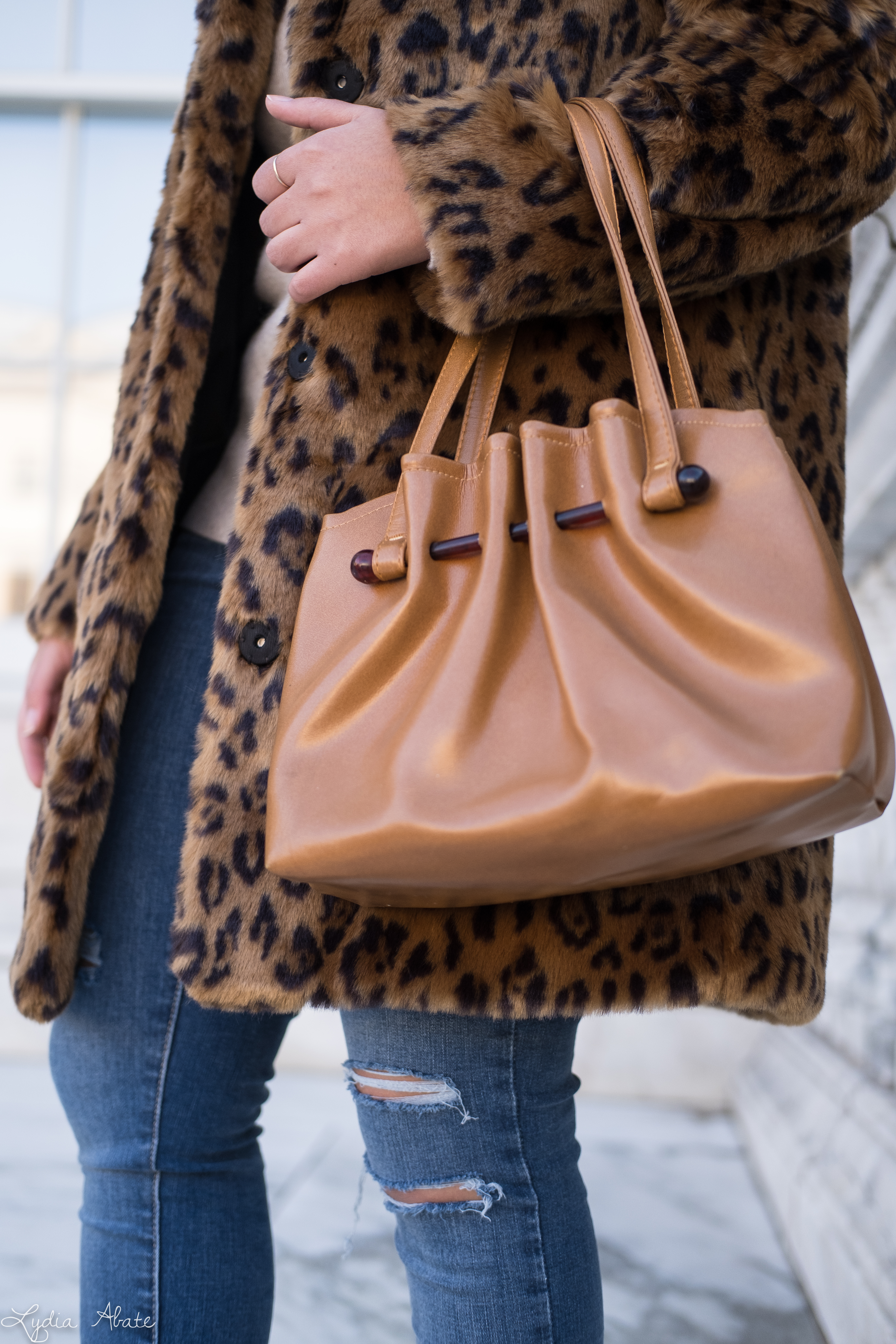 leopard fur coat, cashmere sweater, vintage bag, cream fedora, booties-10.jpg