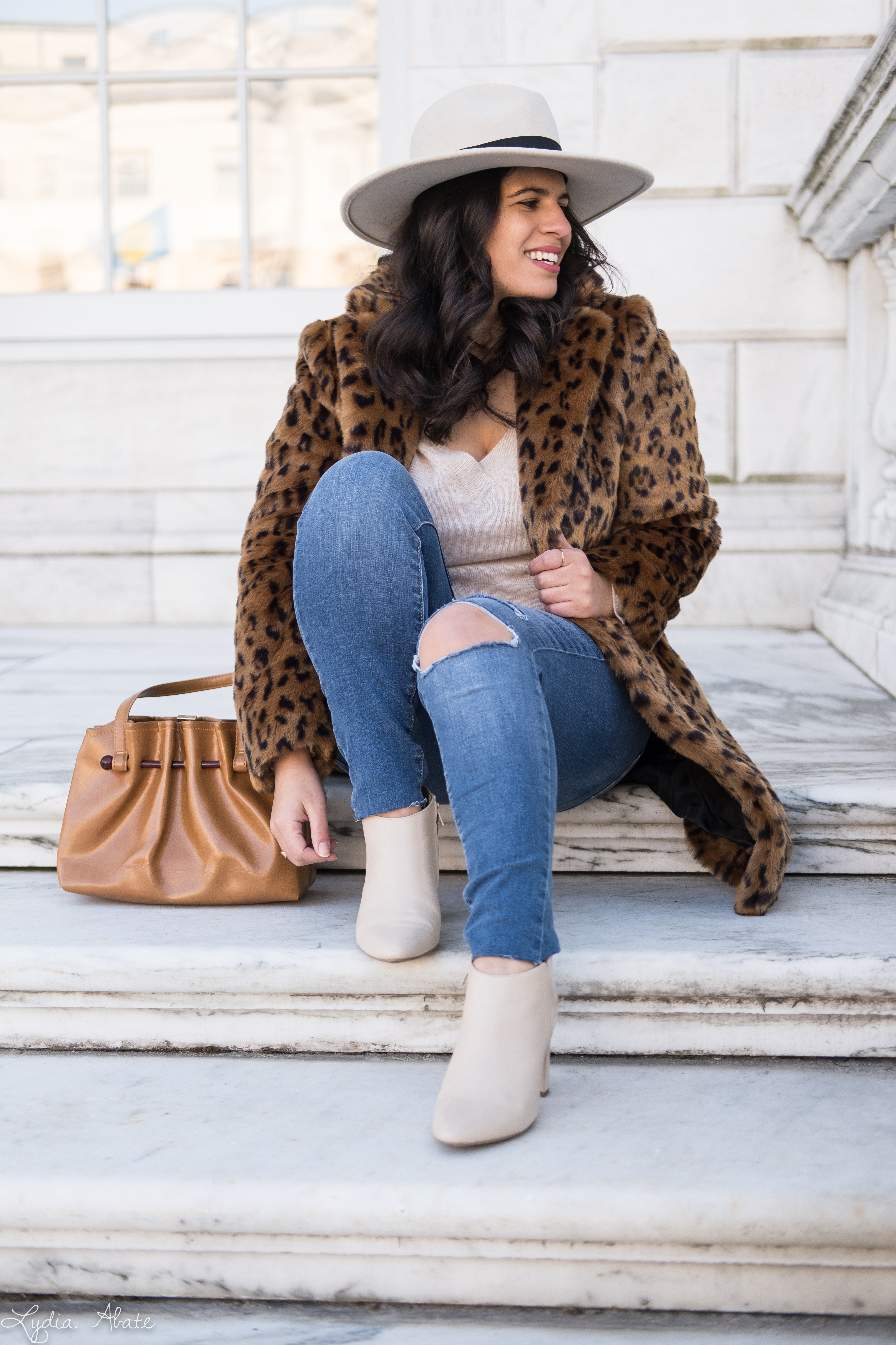 leopard fur coat, cashmere sweater, vintage bag, cream fedora, booties-13.jpg