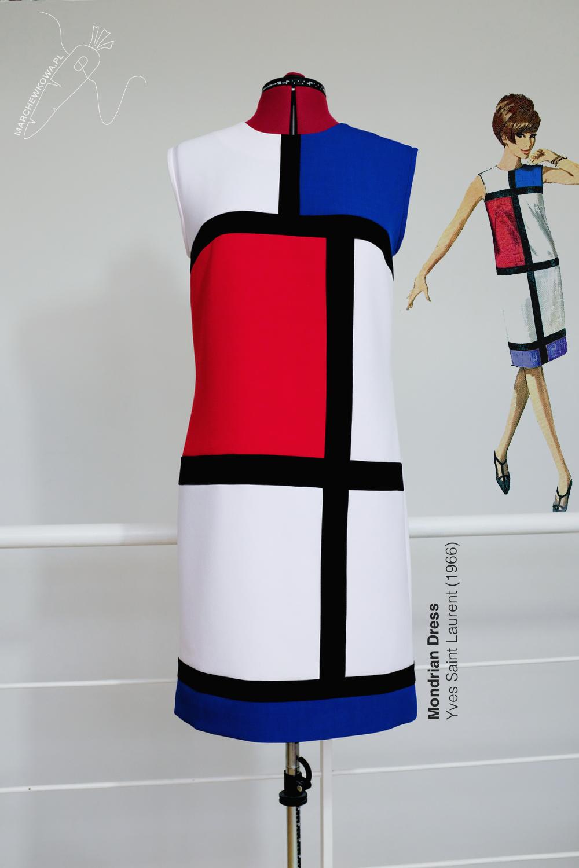 marchewkowa, blog, Wrocław, krawiecktwo, rękodzieło, moda retro i vintage, rekonstrukcje, sukienka mondrianowska, kolory podstawowe, lata 60, sewing, handmade, Mondrian dress, Yves Saint Laurent, YSL, 1960s