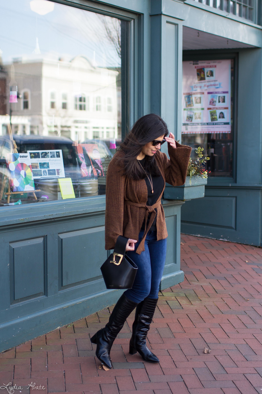 brown bell sleeve cardigan, danse lente bucket bag, aquatalia croc boots-7.jpg