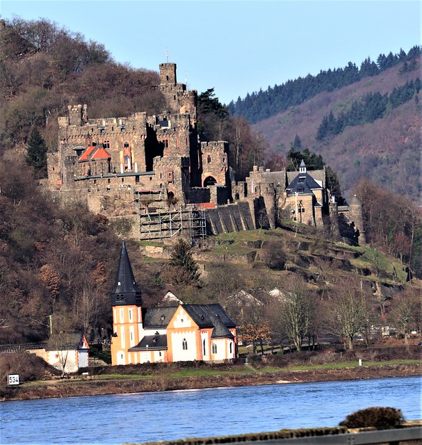 Old Castle and Church on the River Rhine Germany - Oberes Mittelrheintal - UNESCO World Heritage - between Ruedesheim and Koblenz