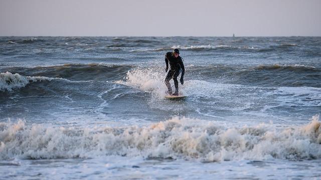 Surfing in the last sunlight C