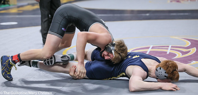 160AA 3rd: Jace Demmers (Scott West) 41-3, Sr. over Adam Sylvester (Totino-Grace) 42-6, Jr. (Dec 13-12). 200229BMC1898