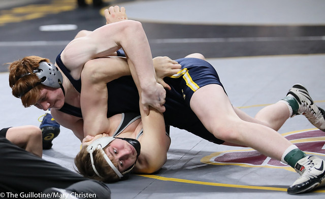 160AA 3rd: Jace Demmers (Scott West) 41-3, Sr. over Adam Sylvester (Totino-Grace) 42-6, Jr. (Dec 13-12). 200229BMC1892