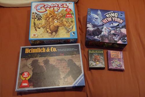 """Brettspiele """"Camel Up"""", """"Heimlich und Co"""" und """" King of New York"""" sowie Kartenspiele """"Saboteur"""" und """" Der große Dalmuti"""""""