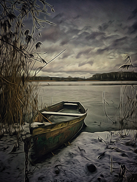 Fishing Boat on Winter Lake
