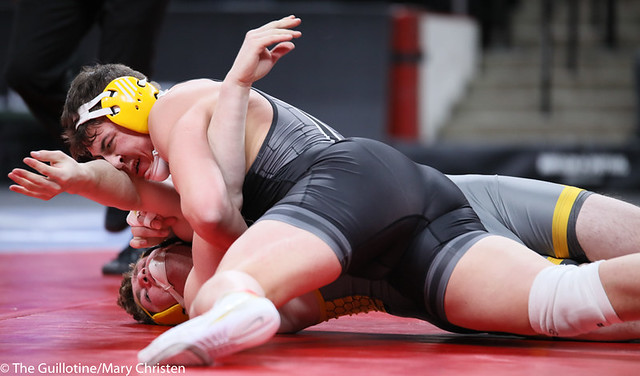 195AA 1st: Kolin Baier (Mankato East) 45-1, Sr. over Dawson Kellogg (Perham) 31-4, Sr. (Fall 5:24). 200229BMC3034