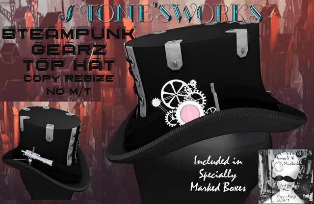 Steampunk Gearz TopHat + Gift Stone's Works