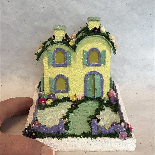 ORIGINAL size Yellow and Green Easter Putz House
