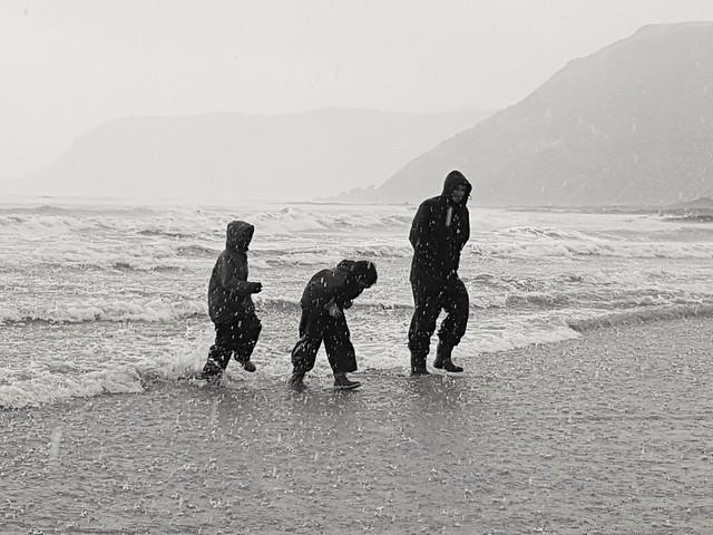Hailstorm on the beach