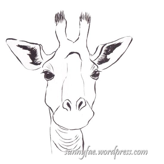 giraffe drawn with a brush pen