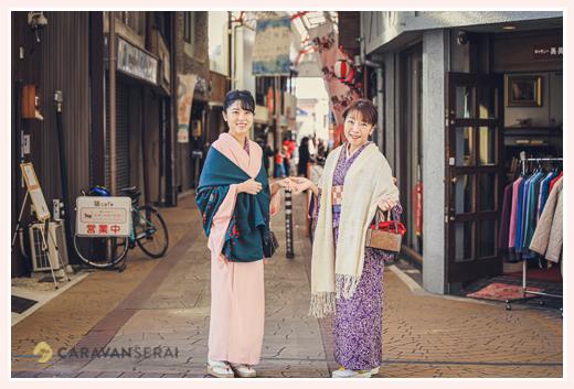 愛知県瀬戸市の銀座通り商店街 お雛めぐり 母娘でお着物コーデ