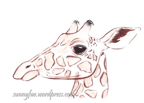 giraffe drawn with brown ink