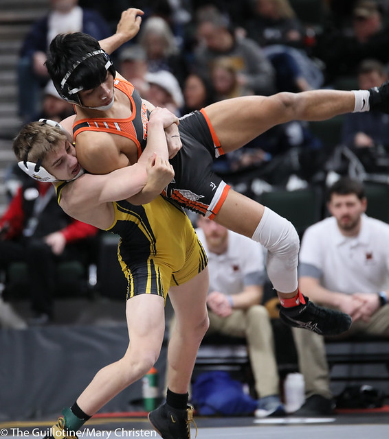 120AA Semifinal - Maxwell Petersen (Byron) 38-3 won by tech fall over Hsa Khee Lar (Marshall) 25-14 (TF-1.5 4:53 (20-5)) 200229AMC1273