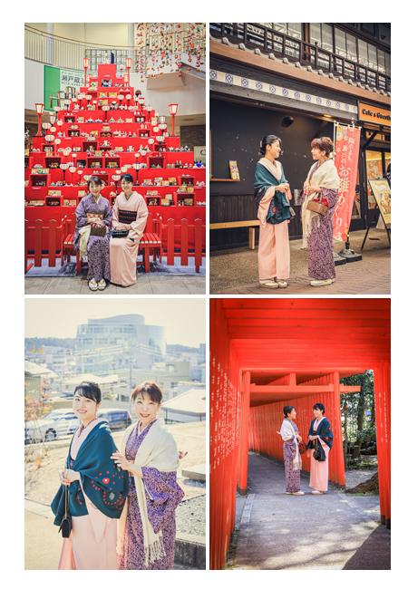 愛知県瀬戸市の お雛めぐり ロケーション撮影 ピラミッド型巨大ひな壇 美人親子で着物