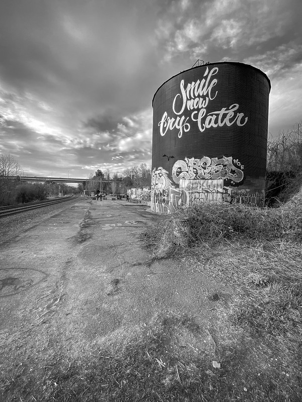 urban landscape, storage silo, graffiti, railroad tracks, Asheville, NC, Apple iPhone 11, 3.1.20