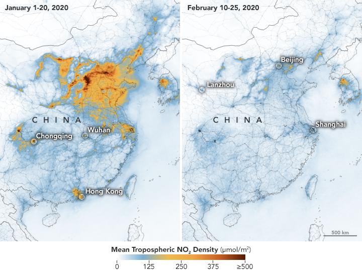 NASA釋出最新中國大陸上空的空氣污染影像。圖片來源:Joshua Stevens/Copernicus Sentinel 5P/ESA