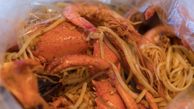 Louisiana Seafood style with garlic noodle.