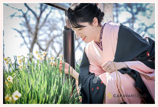 水仙の花と着物姿の若い女性