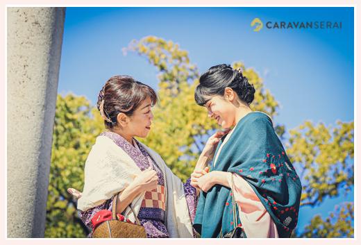 愛知県瀬戸市の観光地巡り♪親子でお着物コーデ 青空を背景に