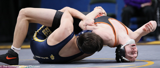 120AA Semifinal - Joey Thompson (Totino-Grace) 47-1 won by tech fall over Ethan Lebrija (MAHACA) 42-2 (TF-1.5 3:53 (17-2)). 200229AMC1275