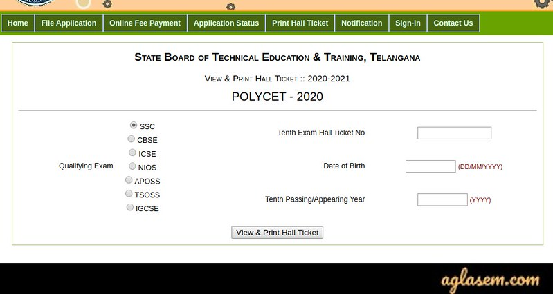 TS POLYCET Application Form 2020 - Apply Online at polycetts.nic.in