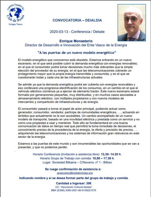 """""""A las puertas de un nuevo modelo energético"""", conferencia del Grupo Vasco del Club de Roma"""