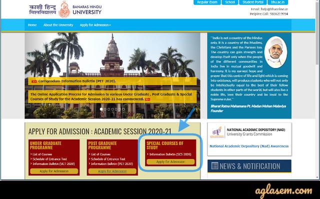 BHU SCS Application Form 2020