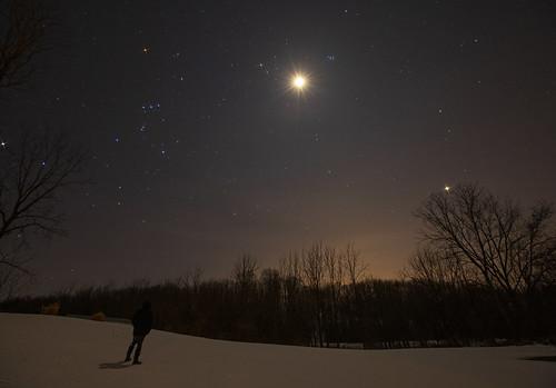 monday sunday star stars astronomy life moon venus orion me selfie peaceful nature landscape snow snowy winter bright evening night