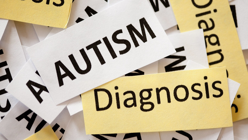 Image of signs which read 'autism' and 'diagnosis'