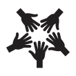 Arrow with hands in a circle overlayed