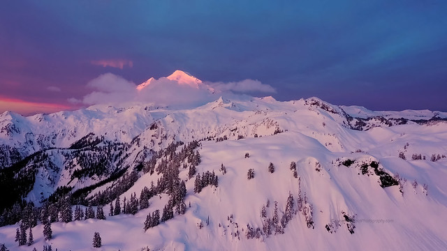 Mount Baker Alpenglow Above Huntoon Point