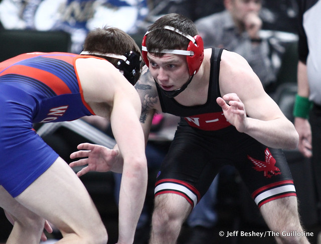 138A Semifinal - Mason Gode (LPGE-Browerville Wolves) 54-1 won by decision over Nolan Rommel (Wabasha-Kellogg) 37-8 (Dec 5-0). 200229AJF1312