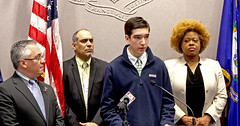 State Rep. Vincent Candelora, left, held a news conference about the commercialization of marijuana. Among the participants were Carson Tosta, a Guilford High School student.