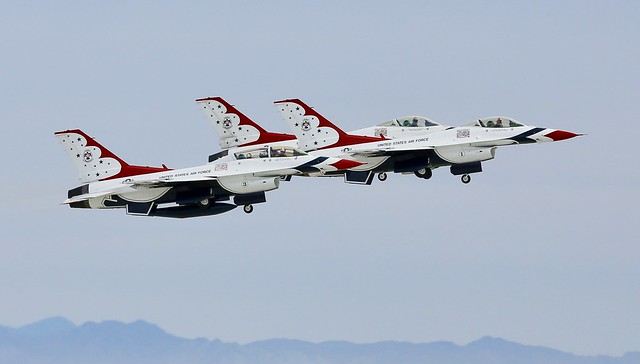 Thunderbird departure from NAF El Centro, great day when both demo teams fly at the same field, same day.